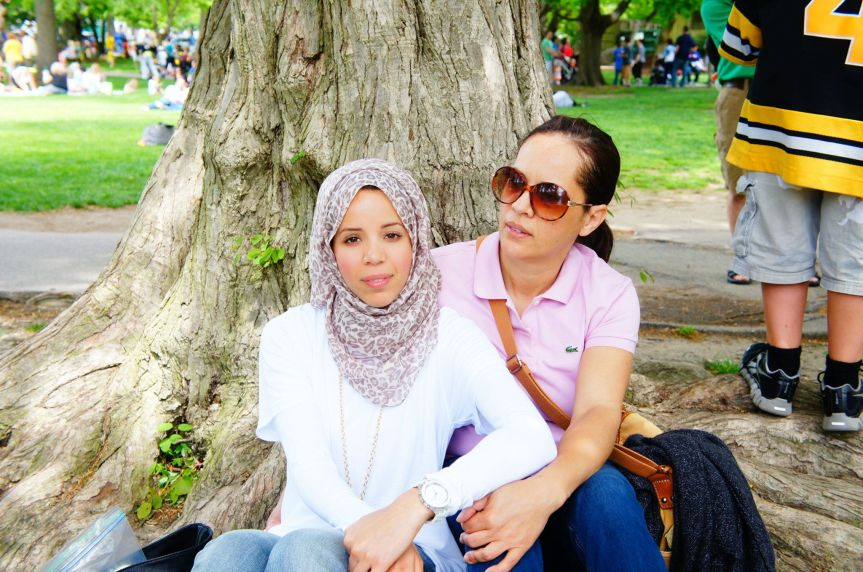 My mother and I enjoying a beautiful summer day at the public garden